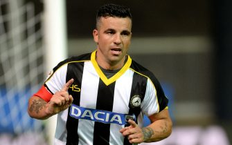 UDINE, ITALY - AUGUST 31:  Antonio Di Natale of Udinese celebrates after scoring his opening goal during the Serie A match between Udinese Calcio and Empoli FC at Stadio Friuli on August 31, 2014 in Udine, Italy.  (Photo by Dino Panato/Getty Images)