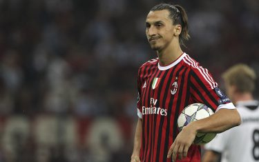 MILAN, ITALY - SEPTEMBER 28:  Zlatan Ibrahimovic of AC Milan looks on during the UEFA Champions League group H match between AC Milan and FC Viktoria Plzen at Giuseppe Meazza Stadium on September 28, 2011 in Milan, Italy.  (Photo by Marco Luzzani/Getty Images)