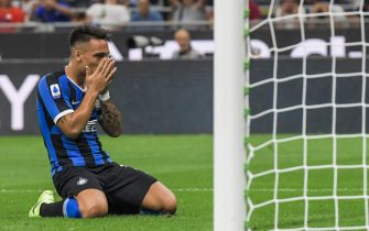 Inter Milan's Argentinian forward Lautaro Martinez reacts after missing a goal opportunity during the Italian Serie A football match Inter Milan vs US Lecce on August 26, 2019 at the San Siro stadium in Milan. (Photo by Miguel MEDINA / AFP)        (Photo credit should read MIGUEL MEDINA/AFP via Getty Images)