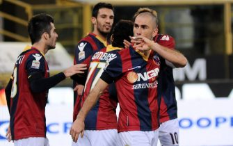 BOLOGNA, ITALY - JANUARY 08:  Marco Di Vaio # 9 of Bologna FC celebrates after scoring a goal during the Serie A match between Bologna FC ande Catania Calcio at Stadio Renato Dall'Ara on January 8, 2012 in Bologna, Italy.  (Photo by Mario Carlini / Iguana Press/Getty Images)