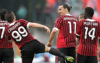 SIENA, ITALY - APRIL 29: Antonio Cassano and Zlatan Ibrahimovic of AC Milan celebrates after scoring a goal during the Serie A match between AC Siena and AC Milan at Artemio Franchi - Mps Arena Stadium on April 29, 2012 in Siena, Italy.  (Photo by Gabriele Maltinti/Getty Images)
