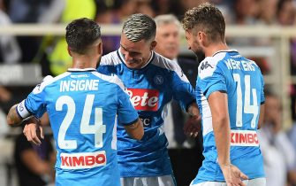 FLORENCE, ITALY - AUGUST 24: Jose Callejon of Napoli celebrates with teammates Dries Mertens and  Lorenzo Insigne after scoring the third goal of his team during the Serie A match between ACF Fiorentina and SSC Napoli at Stadio Artemio Franchi on August 24, 2019 in Florence, Italy.  (Photo by SSC NAPOLI/Getty Images)