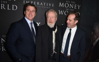 """BEVERLY HILLS, CA - DECEMBER 18:  (L-R) Dan Friedkin, Ridley Scott and Bradley Thomas attends the premiere of Sony Pictures Entertainment's """"All The Money In The World"""" at Samuel Goldwyn Theater on December 18, 2017 in Beverly Hills, California.  (Photo by Kevin Winter/Getty Images)"""
