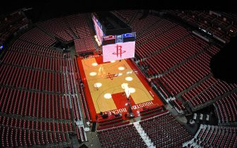 HOUSTON, TX - MAY 6: A general view of the Houston Rockets arena prior to Game Four of the Western Conference Semifinals of the 2019 NBA Playoffs on May 6, 2019 at the Toyota Center in Houston, Texas. NOTE TO USER: User expressly acknowledges and agrees that, by downloading and/or using this photograph, user is consenting to the terms and conditions of the Getty Images License Agreement. Mandatory Copyright Notice: Copyright 2019 NBAE (Photo by Andrew D. Bernstein/NBAE via Getty Images)
