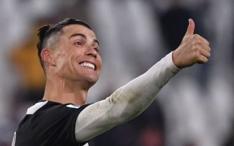 Juventus' Portuguese forward Cristiano Ronaldo celebrates during the Italian Serie A football match Juventus vs Cagliari on January 6, 2020 at the Juventus Allianz stadium in Turin. (Photo by Marco Bertorello / AFP) (Photo by MARCO BERTORELLO/AFP via Getty Images)