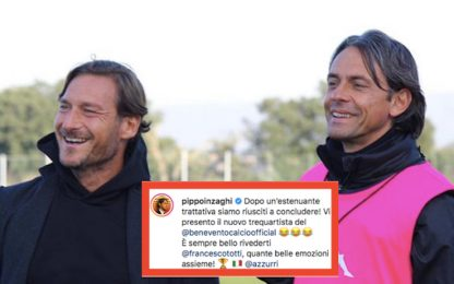 """Inzaghi scherza con Totti: """"Il nuovo trequartista"""""""