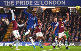 LONDON, ENGLAND - DECEMBER 04: Tammy Abraham of Chelsea scores his team's first goal  during the Premier League match between Chelsea FC and Aston Villa at Stamford Bridge on December 04, 2019 in London, United Kingdom. (Photo by Justin Setterfield/Getty Images)