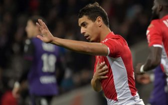 Monaco's French forward Wissam Ben Yedder celebrates after scoring a goal during the French L1 football match between Toulouse (TFC) and Monaco (ASM) on December 4, 2019, at the Municipal Stadium in Toulouse, southern France. (Photo by PASCAL PAVANI / AFP) (Photo by PASCAL PAVANI/AFP via Getty Images)