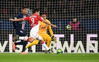 Monaco's French forward Wissam Ben Yedder kicks to score during the French L1 football match between Paris Saint-Germain and AS Monaco at the Parc des Princes stadium in Paris on January 12, 2020. (Photo by Anne-Christine POUJOULAT / AFP) (Photo by ANNE-CHRISTINE POUJOULAT/AFP via Getty Images)