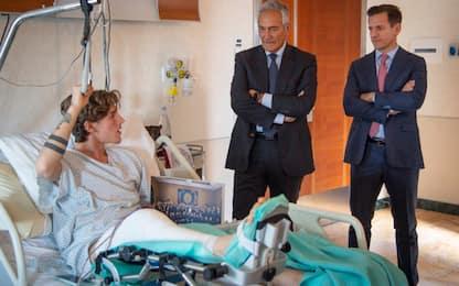 Zaniolo, la visita di Gravina dopo l'infortunio