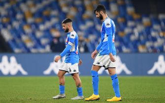 NAPLES, ITALY - JANUARY 18: Sebastiano Luperto and Lorenzo Insigne of SSC Napoli stand disappointed after the Serie A match between SSC Napoli and  ACF Fiorentina at Stadio San Paolo on January 18, 2020 in Naples, Italy. (Photo by Francesco Pecoraro/Getty Images)