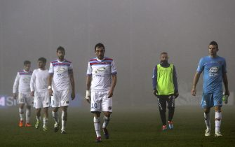BERGAMO, ITALY - JANUARY 12:  The players of the Calcio Catania leave the field disappointed at the end of the Serie A match between Atalanta BC and Calcio Catania at Stadio Atleti Azzurri d'Italia on January 12, 2014 in Bergamo, Italy.  (Photo by Marco Luzzani/Getty Images)