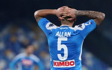 NAPLES, ITALY - JANUARY 18 : Allan Marques of SSC Napoli disappointed ,during the Serie A match between SSC Napoli and ACF Fiorentina at Stadio San Paolo on January 18, 2020 in Naples, Italy. (Photo by MB Media/Getty Images)