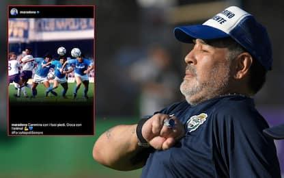 """Maradona su Instagram: """"Napoli, gioca con l'anima"""""""