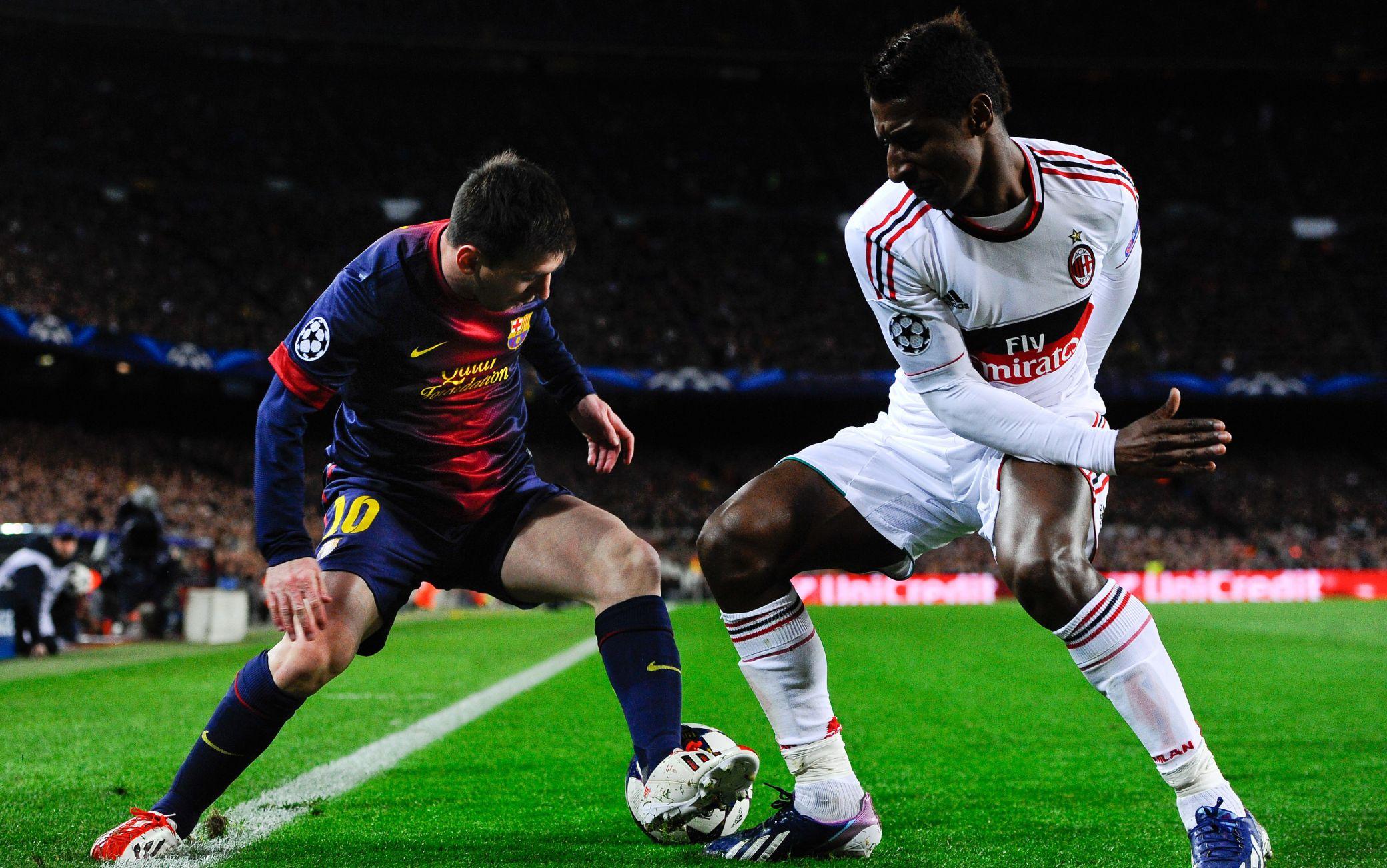 Leo Messi e Kevin Constant in Barcellona-Milan del 2013