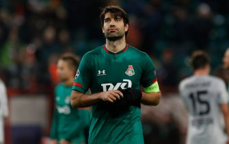 MOSCOW, RUSSIA - NOVEMBER 26: Vedran Corluka (C) of Lokomotiv Moskva reacts on his team defeat during the UEFA Champions League group D match between Lokomotiv Moskva and Bayer Leverkusen at RZD Arena on November 26, 2019 in Moscow, Russia. (Photo by Mike Kireev/MB Media/Getty Images)
