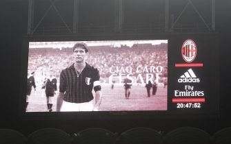 MILAN, ITALY - APRIL 09:  A giant banner in memory of Cesare Maldini before the Serie A match between AC Milan and Juventus FC at Stadio Giuseppe Meazza on April 9, 2016 in Milan, Italy.  (Photo by Marco Luzzani/Getty Images)