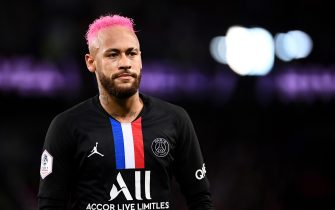 Paris Saint-Germain's Brazilian forward Neymar looks on during the French L1 football match between Paris Saint-Germain (PSG) and Montpellier Herault SC at the Parc des Princes stadium in Paris, on February 1, 2020. (Photo by FRANCK FIFE / AFP) (Photo by FRANCK FIFE/AFP via Getty Images)