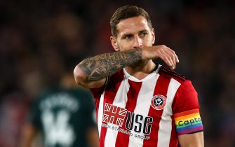SHEFFIELD, ENGLAND - DECEMBER 05: Billy Sharp of Sheffield United during the Premier League match between Sheffield United and Newcastle United at Bramall Lane on December 5, 2019 in Sheffield, United Kingdom. (Photo by Robbie Jay Barratt - AMA/Getty Images)