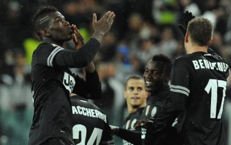 TURIN, ITALY - OCTOBER 31:  Paul Pogba (L) of Juventus FC celebrates scoring their second goal  during the Serie A match between Juventus FC and Bologna FC at Juventus Arena on October 31, 2012 in Turin, Italy.  (Photo by Valerio Pennicino/Getty Images)