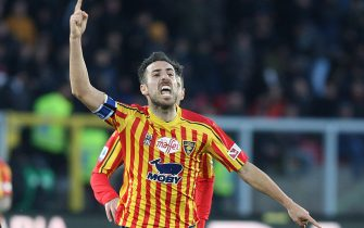Lecce's Marco Mancosu jubilates after scoring the 1-1 goal during the Italian Serie A soccer match US Lecce vs FC Inter at the Via del Mare stadium in Lecce, Italy, 19 january 2019. ANSA/MARCO LEZZI