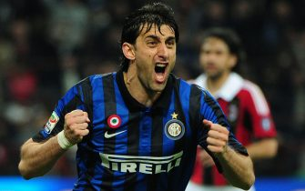 Inter Milan's Argentine forward Diego Alberto Milito celebrates after scoring his third goal against AC Milan on May 6, 2012 during an Italian Serie A football match at the San Siro stadium in Milan. AFP PHOTO / OLIVIER MORIN        (Photo credit should read OLIVIER MORIN/AFP/GettyImages)