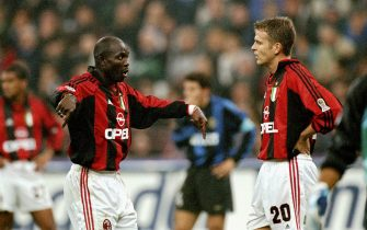23 Oct 1999:  George Weah and Oliver Bierhoff of AC Milan during the Serie A match against Inter Milan at the San Siro in Milan, Italy.  \ Mandatory Credit: Claudio Villa /Allsport