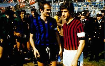 © Ravezzani/LaPresse14-04-1976 Milano, ItaliaCalcioDerby Inter-MilanNella foto: SANDRO MAZZOLA e GIANNI RIVERA.