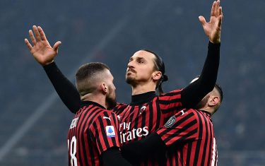 AC Milan's forward Zlatan Ibrahimovic from Sweden (C) celebrates with his teammates after scoring a goal during the Italian Serie A football match Inter Milan vs AC Milan on February 9, 2020 at the San Siro stadium in Milan. (Photo by MARCO BERTORELLO / AFP) (Photo by MARCO BERTORELLO/AFP via Getty Images)