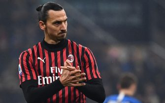 AC Milan's forward Zlatan Ibrahimovic from Sweden reacts during the Italian Serie A football match Inter Milan vs AC Milan on February 9, 2020 at the San Siro stadium in Milan. (Photo by MARCO BERTORELLO / AFP) (Photo by MARCO BERTORELLO/AFP via Getty Images)