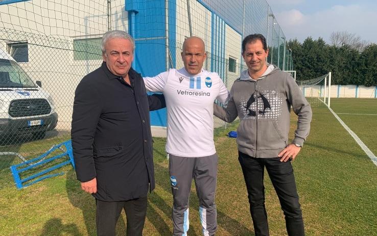 Di Biagio con il patron Colombarini e il presidente Mattioli