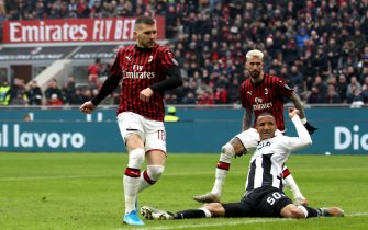 MILAN, ITALY - JANUARY 19 : Ante Rebic of AC Milan coring his goal ,during the Serie A match between AC Milan and  Udinese Calcio at Stadio Giuseppe Meazza on January 19, 2020 in Milan, Italy. (Photo by MB Media/Getty Images)