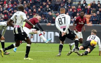 AC MilanÕs Ante Rebic (C) scores goal of 3 to 2 during the Italian serie A soccer match  Ac Milan vs Udinese Calcio  at Giuseppe Meazza stadium in Milan 19 January  2020.ANSA / MATTEO BAZZI