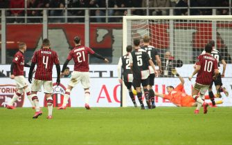 AC MilanÕs Ante Rebic (L) scores goal of 1 to 0 during the first leg of the semifinal of  Italian Coppa Italia soccer match between Ac Milan and Juventus Fc  at Giuseppe Meazza stadium in Milan 13 February   2020.ANSA / MATTEO BAZZI