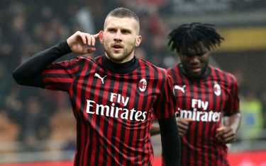 AC Milan's Ante Rebic jubilates after scoring goal of 1 to 0 during the Italian serie A soccer match  between Ac Milan vs Torino Fc at Giuseppe Meazza stadium in Milan 17 February  2020.