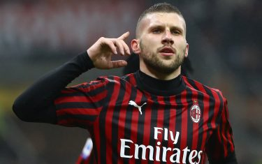 MILAN, ITALY - FEBRUARY 17:  Ante Rebic of AC Milan celebrates after scoring the opening goal during the Serie A match between AC Milan and Torino FC at Stadio Giuseppe Meazza on February 17, 2020 in Milan, Italy.  (Photo by Marco Luzzani/Getty Images)