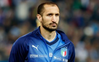 UDINE, ITALY - MARCH 23: GiorgioChiellini of Italy looks on prior to the 2020 UEFA European Championships group J qualifying match between Italy and Finland at Stadio Friuli on March 23, 2019 in Udine, Italy. (Photo by TF-Images/Getty Images)