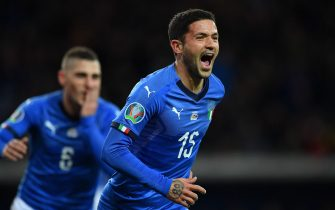 PARMA, ITALY - MARCH 26:  Stefano Sensi of Italy celebrates his opening goal during the 2020 UEFA European Championships group J qualifying match between Italy and Liechtenstein at Ennio Tardini on March 26, 2019 in Parma, Italy.  (Photo by Valerio Pennicino/Getty Images)
