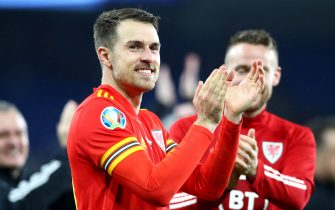CARDIFF, WALES - NOVEMBER 19: Aaron Ramsey of Wales celebrates after winning the UEFA Euro 2020 qualifier between Wales and Hungary so at Cardiff City Stadium on November 19, 2019 in Cardiff, Wales. (Photo by Chloe Knott - Danehouse/Getty Images)