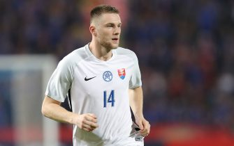 BANGKOK, THAILAND - MARCH 25: Milan Skriniar #14 of Slovakia in action during the international friendly match between Thailand and Slovakia at Rajamangala National Stadium on March 25, 2018 in Bangkok, Thailand. (Photo by Pakawich Damrongkiattisak/Getty Images)
