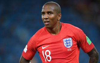 MOSCOW ,RUSSIA - JULY 3: Ashley Young of England looks on during the 2018 FIFA World Cup Russia Round of 16 match between Colombia and England at Spartak Stadium on July 3, 2018 in Moscow, Russia. (Photo by Etsuo Hara/Getty Images)
