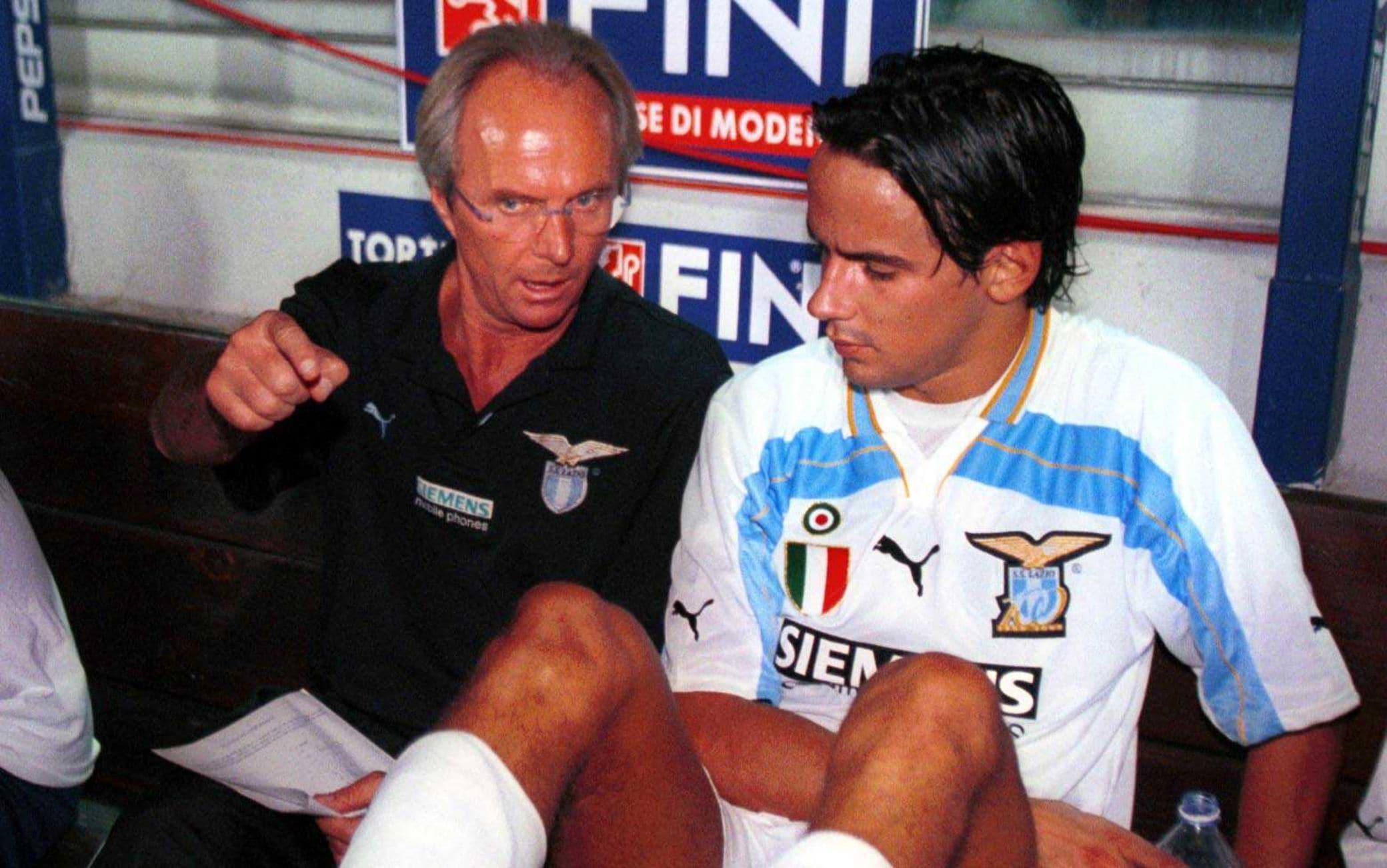 Sven-Göran Eriksson e Simone Inzaghi nel 2000