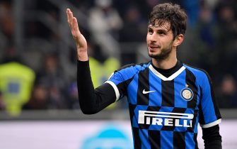 MILAN, ITALY - JANUARY 14: Andrea Ranocchia of FC Internazionale Milano celebrates goal during the Italian Serie A   match between Internazionale v Cagliari Calcio at the San Siro on January 14, 2020 in Milan Italy (Photo by Mattia Ozbot/Soccrates/Getty Images)