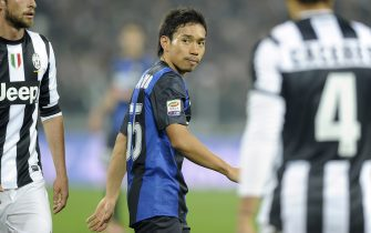 TURIN, ITALY - NOVEMBER 03:  Yuto Nagatomo of Inter Milan during the Serie A match between Juventus FC and FC Internazionale Milano at Juventus Arena on November 3, 2012 in Turin, Italy.  (Photo by Claudio Villa/Getty Images)