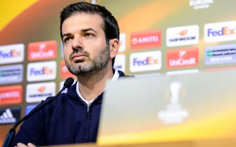 Panathinaikos' head coach Italian Andrea Stramaccioni takes  part in a press conference on October 19, 2016 in Liege, prior to the Europa League football match against Liege. / AFP PHOTO / Belga / NICOLAS LAMBERT / Belgium OUT        (Photo credit should read NICOLAS LAMBERT/AFP via Getty Images)