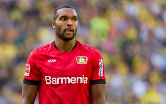 DORTMUND, GERMANY - SEPTEMBER 14: Jonathan Tah of Bayer 04 Leverkusen looks dejected during the Bundesliga match between Borussia Dortmund and Bayer 04 Leverkusen at Signal Iduna Park on September 14, 2019 in Dortmund, Germany. (Photo by TF-Images/ Getty Images)