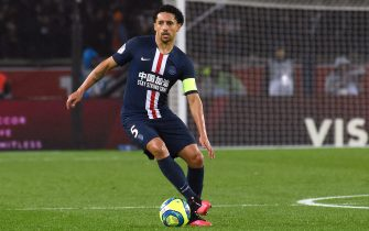 PARIS, FRANCE - FEBRUARY 23:  Marquinhos of PSG in action during the Ligue 1 match between Paris Saint-Germain and Girondins Bordeaux at Parc des Princes on February 23, 2020 in Paris, France. (Photo by Frederic Stevens/Getty Images)