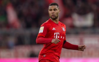 MUNICH, GERMANY - FEBRUARY 21: (BILD ZEITUNG OUT) Serge Gnabry of FC Bayern Muenchen Looks on during the Bundesliga match between FC Bayern Muenchen and SC Paderborn 07 at Allianz Arena on February 22, 2020 in Munich, Germany. (Photo by Harry Langer/ DeFodi Images via Getty Images)