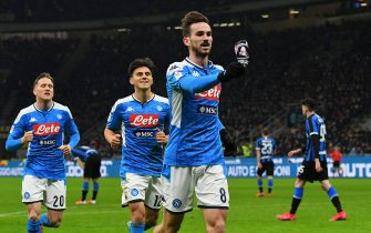 MILAN, ITALY - FEBRUARY 12:  Fabian Ruiz of SSC Napoli celebrates after scoring the opening goalduring the Coppa Italia Semi Final match between FC Internazionale and SSC Napoli at Stadio Giuseppe Meazza on February 12, 2020 in Milan, Italy.  (Photo by Alessandro Sabattini/Getty Images)