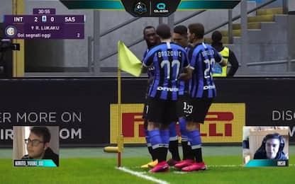 Inter-Sassuolo si gioca alla Play: Lukaku ne fa 3